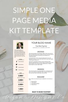 gray and peach one page media kit template blog media kit