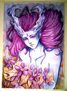 Demon with flowers.