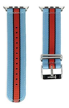 Apple Watch NATO Band - Blue, Black & Orange Woven Nylon Band (42mm Silver). The original NATO strap designed for your smartwatch: Apple Watch, Android Wear & Pebble. Woven, double layered and heat sealed ballistic nylon - it comes with a Lifetime Warranty. Patent Pending design using quick-release pins.