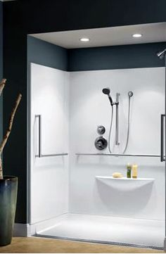 Barrier free shower. It allows someone In a wheelchair to move in without any hassles. It is also very contemporary and a chic design.