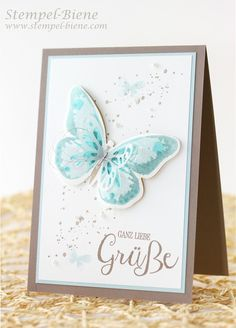 Stampin Up Watercolor Wings, Einfache Grußkarte, Schmetterlingskarte STampin Up, Stampin Up Gute Gedanken, Stampin Up Bestellen, Stampin Up Katalog 2015, Stampin Up Stempelparty, Stempel-biene