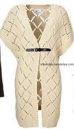 Openwork cardigan with knitting needles. Long cardigan with rhombus knitting pattern Knitting Machine Patterns, Knitting Stitches, Knitting Designs, Knitting Needles, Knit Cardigan Pattern, Crochet Cardigan, Long Cardigan, Crochet Coat, Crochet Clothes