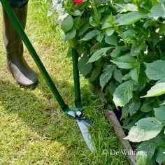 Deze schaar knipt graskanten langs een muurtje of haag, zonder dat u hoeft te bukken. De stand van de bladen is zo dat u knipt in hetzelfde vlak als het gazon. Met lange armen voor een optimale sta houding.  Graskantjes knippen zonder bukken.