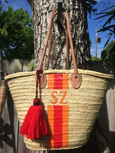 monogrammed bag, personalized basket, french market basket, beach bag