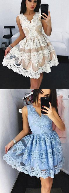 Cute Homecoming Dress,Mini V-Neck Short Prom Dress,Blue Homecoming Dress,Lace Appliqued Short Prom Dress,Sweet 16 Dress