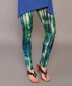 Look at this #zulilyfind! Jade & Blue Abstract Leggings - Women #zulilyfinds