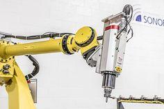 The popular FANUC robot is a long reach robot with incredible application versatility. New and reconditioned robots are available at RobotWorx. Industrial Robotic Arm, Robot Design, Futuristic Technology, Robotics, 3d Printing, Study, The Incredibles, Electronics, Impression 3d