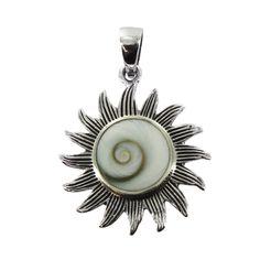 Sterling Silver Shiva Shell Sunflower Pendant - Fire & Ice