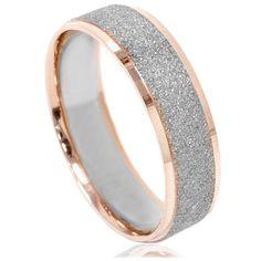 Mens Two Tone Wedding Ring 14K White & Rose Gold 6MM Brushed Band Size (7-12). $399.00, via Etsy.