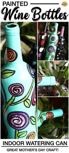 Turn a wine bottle into an indoor watering can with acrylic craft paint. The long neck reaches right into the plant, so no spills or drips! Plus, it doubles as a decorative piece of art in between waterings! Great craft for kids and adults alike. Super homemade gift for kids to make for Mother's Day, Christmas and birthdays! #HappyHooligans #KidCrafts #CraftIdeas #EasyCrafts #CraftsForKids #TweenCrafts #WineBottles #WateringCan #ArtForKids #KidsArt #MothersDay #Homemade #GiftIdeas #Gardening Empty Wine Bottles, Green Glass Bottles, Painted Wine Bottles, Bottle Painting, Bottle Art, Indoor Watering Can, Watering Cans, Snail Craft, Acrylic Craft Paint