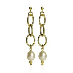 Veronese Orecchini argento 925 placcato oro e perle coltivate d'acqua dolce