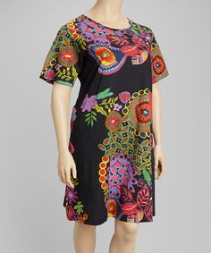 Look what I found on #zulily! Black & Purple Floral Shift Dress - Plus by La Cera #zulilyfinds