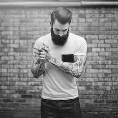 I do not think that there has ever been a better combination of beard and tattoos than Ricki Hall. He is by far one of the best looking models I have seen in some time. Moustaches, Beards And Mustaches, Hot Beards, Hipsters, Hipster Fashion, Mens Fashion, Hipster Style, Ricki Hall, Great Beards