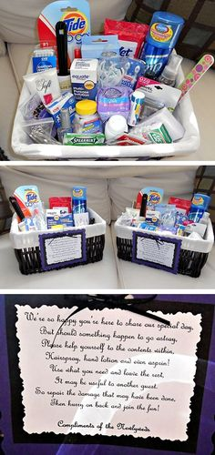DIY Bathroom Baskets...if I have time before the wedding this would be a nice touch. @Melissa Squires Dowsling I like the little note- we are still doing these right ?