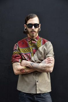 african print block diagonal shirt mens