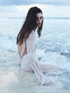 Our stunning ethereal long sleeve mermaid dress from our latest GALA by… Our stunning ethereal long sleeve mermaid dress from our latest GALA by Galia Lahav collection was featured in The Lane's bridal shoot Lumiére. Photography by Tim Ashton Bridal Photoshoot, Bridal Shoot, Bridal Gowns, Wedding Gowns, Long Sleeve Mermaid Dress, How To Pose, Long Sleeve Wedding, Boho Bride, Beach Dresses