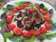 My recipe: vine ripened tomatoes and a few leafy greens, bed of black quinoa topped with cannellini beans tossed with olive tapenade, seasoned with fresh basil, balsamic vinegar and black pepper. Perfectly fits the S.A.S.S! Yourself Slim '5 piece puzzle' principle. Major yum!