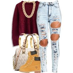 A fashion look from October 2014 featuring crop top, distressed jeans and timberland boots. Browse and shop related looks.