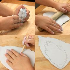 Kids craft: Air Dry clay Mid Century Style ceramic hand dish