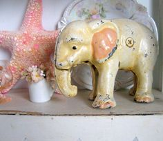 Antique Cast Iron Toy Elephant Coin Bank