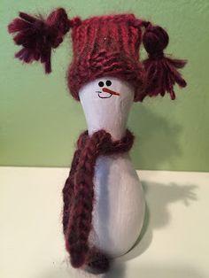 Mini Bowling pin snowman