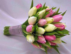Beautiful bouquet of fresh tulips