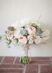 I absolutely L-O-V-E this bouquet!! Love the way it all came together -- succulents, blush pinks, ivory.. Are those scabiosa pods in there, as well --rustic and nice!! This is exactly what I am thinking of for the bridal bouquet!