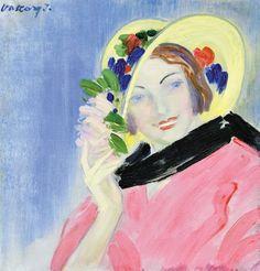 'Nő, virágos kalapban' (Woman, in flowery hat), Vaszary János