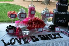 Hot pink and black wedding candy buffet. - different idea