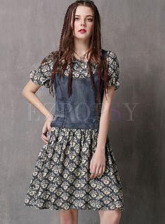 Vintage Denim Stitching O-Neck Short Sleeve Bowknot Skater Dress Stylish Dresses, Fashion Dresses, Dress Outfits, Women's Fashion, Denim Skater Dress, Skater Dresses, Women's Dresses, Girls Frock Design, Frocks For Girls
