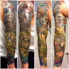 Awesome full sleeve Studio Ghibli tattoo by tattoo artist Andy Kurth at Electric Chair Tattoo in Clio, MI. Featuring characters, locations, and scenes from Spirited Away, Kiki's Delivery Service, My Neighbor Totoro, Princess Mononoke, Ponyo, and Howl's Moving Castle. It's a veritable love letter to Hayao Miyazaki written in colorful inks on skin.