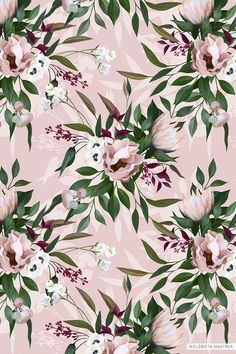Floral Illustrated Painted Seamless Repeat Design Floral romantic pattern composed of painted elements. Flowers contrast with the pink background.