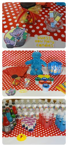 CUTEST Sesame Street party EVER!  love the polka-dot table cloth.  the squeeze juice's like elmo and cookie monster