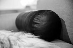 Cylinder cushion designed by Bent Hansen Studio #cushion #cylinder #pude #pyntepude #leather #black