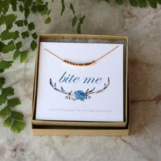 Morse Code Necklace, BITE ME, Secret Message Necklace, Funny Gift for Her, Morse Code Jewelry, Sterling Silver 14k Gold Filled