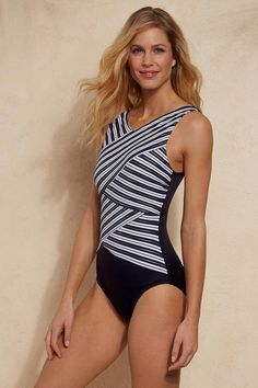 3e60b74f33159d Miraclesuit Mayan Stripe Brio Swimsuit from Soft Surroundings