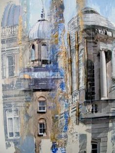 Name of painting here Art And Architecture, Architecture Details, Architect Drawing, Collage Art Mixed Media, Building Art, Drawing Projects, A Level Art, Built Environment, Landscape Illustration