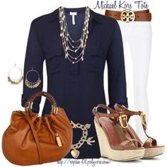Blue/White great combo. Love belt,shoes, jewelry, & bag