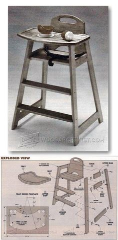 Children's Highchair Plans - Children's Furniture Plans and Projects | WoodArchivist.com
