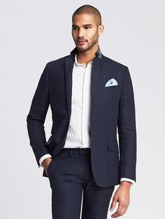$298, Navy Linen Blazer: Banana Republic Modern Slim Navy Linen Suit Jacket. Sold by Banana Republic. Click for more info: http://lookastic.com/men/shop_items/223885/redirect