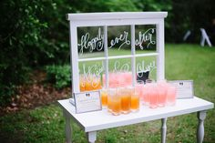 Storm Window Beverage Station | Beautiful Tented Charleston Wedding On The Grounds Of Magnolia Plantation  | Photograph by Shannon Noel Photography  See The Full Story At http://storyboardwedding.com/tented-charleston-wedding-magnolia-plantation/