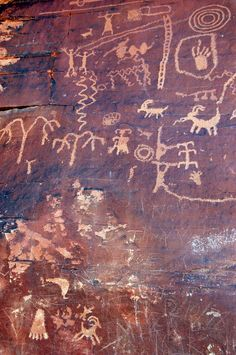 Nevada's Valley of Fire State Park,  Anasazi petroglyphs +additions from idiot tourists
