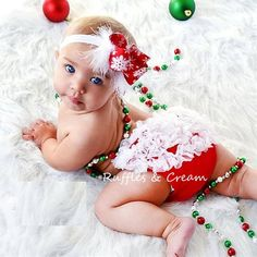 cute christmas outfit! baby bloomer and hair bow 3 - Click image to find more Kids Pinterest pins