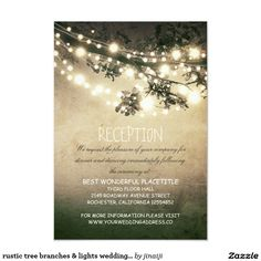 rustic tree branches & lights wedding reception card