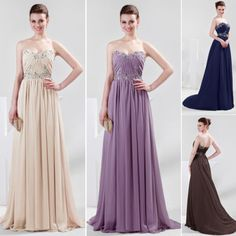2014 Sexy Beaded Long Wedding Ball Formal Bridesmaid Evening Party Prom Dress