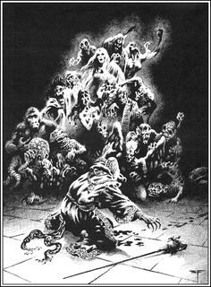 Stephen Fabian. Fabian also did some great work for D&D during a period when TSR printed much of his B&W work in horrible shades of purple or tan.