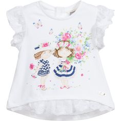 Baby girls white, A-line top by Mayoral in a soft cotton blend jersey. The front hemline and short sleeves are made of lace and there is a cute print of girls and flowers on the front. It has popper fastenings at the back for easy dressing.