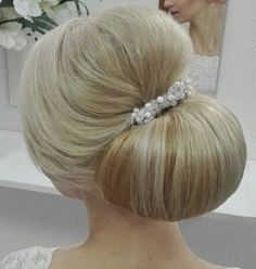 Sophisticated sleek chignon wedding hairstyle with jewel glam hairpiece; Via School Lilac