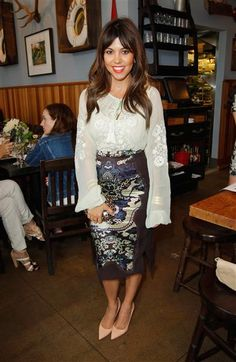 Modern Mommie: At a Paper Denim Cloth and Baby2Baby luncheon on June 11, 2013, we got to see Kourtney Kardashian decked out in some of her finest bohemian-prep wear. The expecting and already mother of two rocked an embroidered blouse with a printed pencil skirt. She capped off the look with a bright red lip and nude pumps. Très chic! | #kourtneykardashian #mommystyle