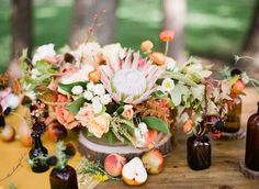 Protea Centerpiece for the table. --- THANK YOU to the fabulous team behind the shoot: @The Confetti Committee | @Loft Photographie | @Bee Lavish | FEATURED on @Green Wedding Shoes / Jen Campbell: http://greenweddingshoes.com/an-autumn-sunset-bridal-soiree/